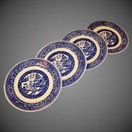 "FOUR  6 1/4"" Homer Laughlin Blue Willow Dessert Plates"