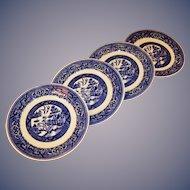 """FOUR  6 1/4"""" Homer Laughlin Blue Willow Dessert Plates"""