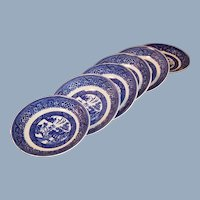 "(SIX) 5 3/4"" Homer Laughlin Blue Willow Saucers"