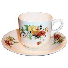 Homer Laughlin Poppy & Rose Cup & Saucer