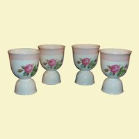 (FOUR AVAIL): Homer Laughlin Swing Eggshell Moss Rose Double Egg Cups ... Pretty for Spring & Easter!