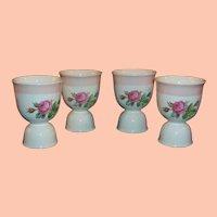 (FOUR AVAIL): Homer Laughlin Swing Eggshell Moss Rose Double Egg Cups ... Pretty for Spring & Easter!