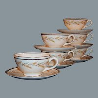 Vintage Set of 6:  Homer Laughlin Georgian Kingston Wheat Cups & Saucers