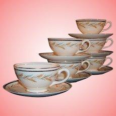 Vintage Set of 6:  Homer Laughlin Georgian Kingston Wheat Cups & Saucers