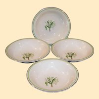 SET of 4: 1940's Laughlin Lily of the Valley Fruit / Berry Bowls
