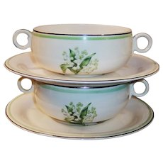 FOUR SETS: Homer Laughlin: Lily of the Valley Cream Soup Bowls and Saucers