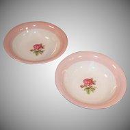 "SET OF TWO: Homer Laughlin Moss Rose 5 3/4"" Dessert or Berry Bowls"