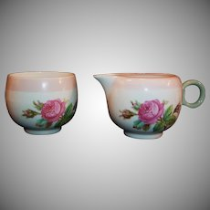 Homer Laughlin  Moss Rose Demitasse Creamer and Sugar
