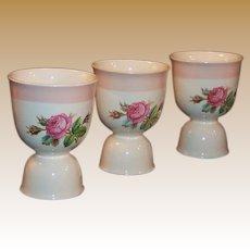 Homer Laughlin Swing Eggshell Moss Rose Double Egg Cups  (3 Avail)