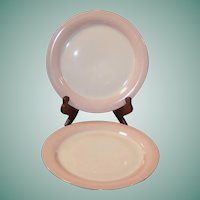 """SET OF TWO:  Homer Laughlin Swing Pink Organdy 9 1/4"""" Dinner / Luncheon Plates"""
