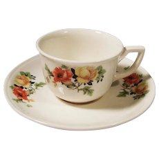 Homer Laughlin Poppy & Rose Espresso / Demitasse Cup & Saucer Set