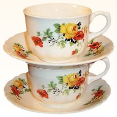 Set of 2: Homer Laughlin Poppy & Rose Cups & Saucers