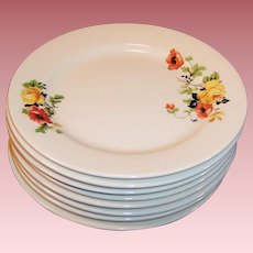 "SETS of 4: Homer Laughlin Poppy & Rose 6 1/4"" Dessert  Plates (2 Sets of 4 Avail.)"