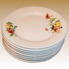 "SETS of 4: Homer Laughlin Poppy & Rose 6 1/4"" Dessert  Plates (2 Sets of 4 Avail.)"