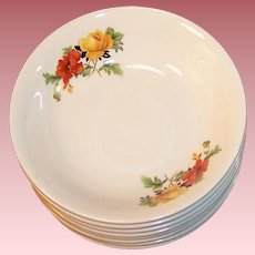 Homer Laughlin Poppy & Rose Dessert, Berry, or Fruit Bowls (2 SETS OF FOUR Available)