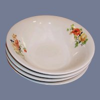 SET of 4: Homer Laughlin Poppy & Rose Cereal Bowls