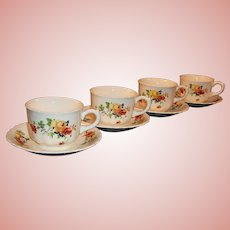 SET of 4: Homer Laughlin Poppy & Rose Cups & Saucers