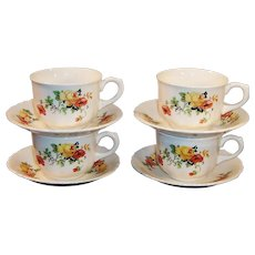 SETS of 4: Homer Laughlin Poppy & Rose Cups & Saucers
