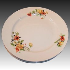 SET of FOUR: Homer Laughlin Poppy & Rose Dinner Plates