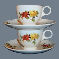 Homer Laughlin Poppy & Rose Demitasse / Espresso Cup & Saucer (ONLY ONE Available))