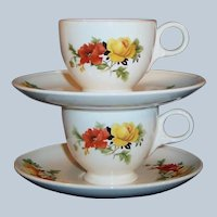 Set of 2: Homer Laughlin Poppy & Rose Demitasse / Espresso Cups & Saucers