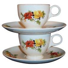 Set of 2: Homer Laughlin Poppy & Rose Demitasse / Espresso Cups & Saucers