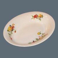 Oval Homer Laughlin Poppy & Rose Serving Bowl