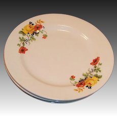 "7 1/4"" Homer Laughlin Poppy Rose Dessert or Salad Plates (SET OF 4)"