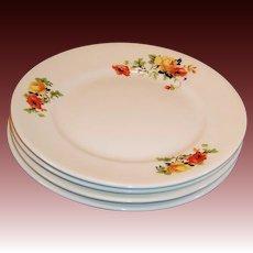 """Homer Laughlin Poppy Rose  8"""" Plates (SET of 4)"""