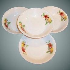 SET OF FOUR: Homer Laughlin Poppy & Rose Dessert, Berry, or Fruit Bowls