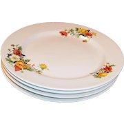 """SET of FOUR: 9"""" Dinner Plates Homer Laughlin Poppy & Rose"""