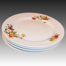 "SET of FOUR: 9"" Dinner Plates Homer Laughlin Poppy & Rose"