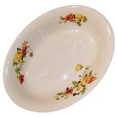 Homer Laughlin Poppy Rose Oval Serving Bowl
