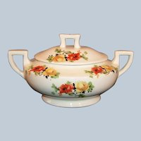 Homer Laughlin Poppy & Rose Kwaker Covered Sugar Bowl