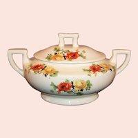 Homer Laughlin Poppy & Rose Kwaker Covered Sugar Bowl