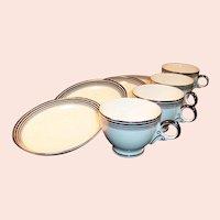 FOUR Homer Laughlin Nautilus Platinum Bands Cup & Saucer Sets