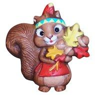 Vintage 1987 Hallmark Autumn Thanksgiving Indian Squirrel Pin