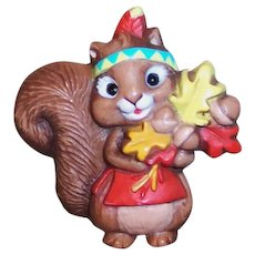 Vintage 1987 Hallmark Autumn Thanksgiving Indian Squirrel Pin