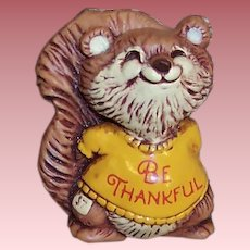 "1982 Vintage Hallmark ""Be Thankful"" Thanksgiving Squirrel Pin"