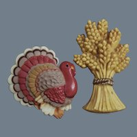 Fall Autumn Thanksgiving Hallmark Pins: Turkey & Wheat