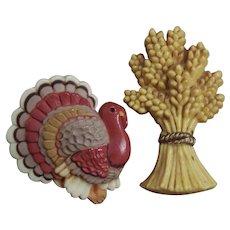 Fall Autumn Thanksgiving Hallmark Pins: Turkey & Wheat