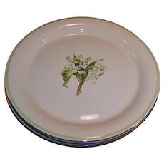"1940's SET OF 4: Homer Laughlin: SWING Lily of the Valley 9 3/4""  Plates (Dinner Size)"
