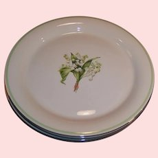 """1940's SET OF 4: Homer Laughlin: SWING Lily of the Valley 9 3/4""""  Plates (Dinner Size)"""