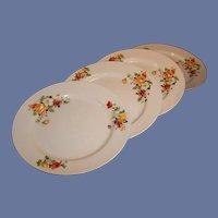 """SET of 4: Homer Laughlin Poppy & Rose 9"""" Dinner / Luncheon Plates"""