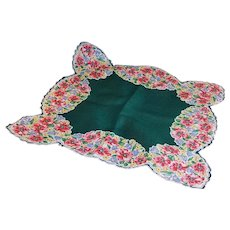 Vintage Scalloped Edge Forest Green & Floral Hankie