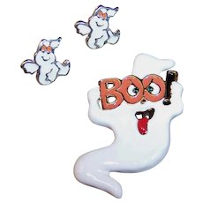 Halloween Ghost Boo Enamel Pin /  Pierced Earrings