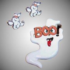 Halloween Ghost Boo Enamel Pin /  Pierced Earrings
