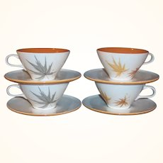 SET OF 4: Iroquois China Ben Seibel Informal HARVEST TIME Cups & Saucers
