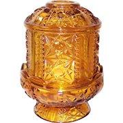 Indiana Glass Paneled Stars and Bars Pattern Amber Fairy Lamp