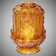 Indiana Glass Paneled Stars and Bars Pattern Amber Fairy Lamp